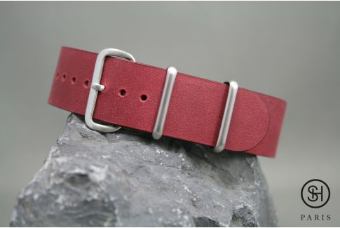 Burgundy SELECT-HEURE leather NATO watch strap, brushed stainless steel buckle