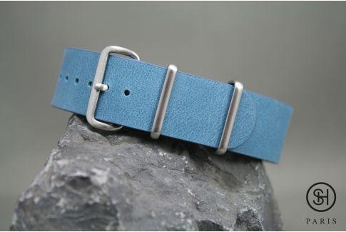 Bracelet montre NATO cuir SELECT-HEURE Bleu Pastel, boucle acier inox brossé