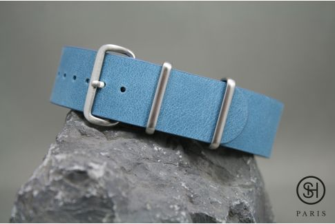 Pastel Blue SELECT-HEURE leather NATO watch strap, brushed stainless steel buckle