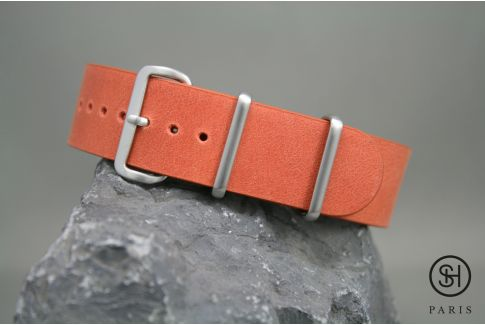 Tangerine Orange SELECT-HEURE leather NATO watch strap, brushed stainless steel buckle