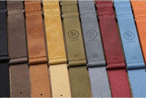 Bracelet montre NATO cuir SELECT-HEURE Orange Tangerine, boucle acier inox brossé