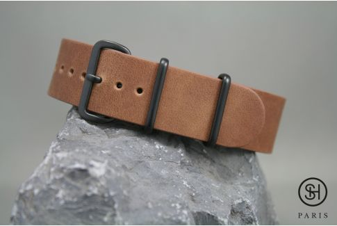 Gold Brown SELECT-HEURE leather NATO watch strap, black PVD stainless steel buckle