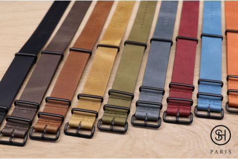 Bracelet montre NATO cuir SELECT-HEURE Marron foncé, boucle acier inox PVD noir
