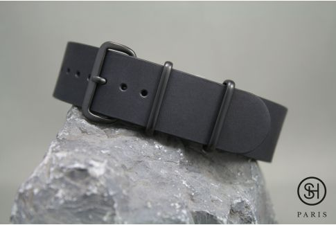 Mat Black SELECT-HEURE leather NATO watch strap, black PVD stainless steel buckle