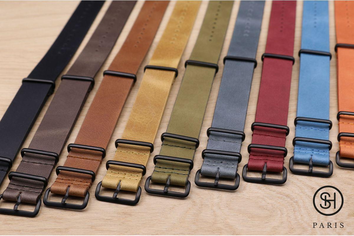 Bracelet montre NATO cuir SELECT-HEURE Noir  mat, boucle acier inox PVD noir