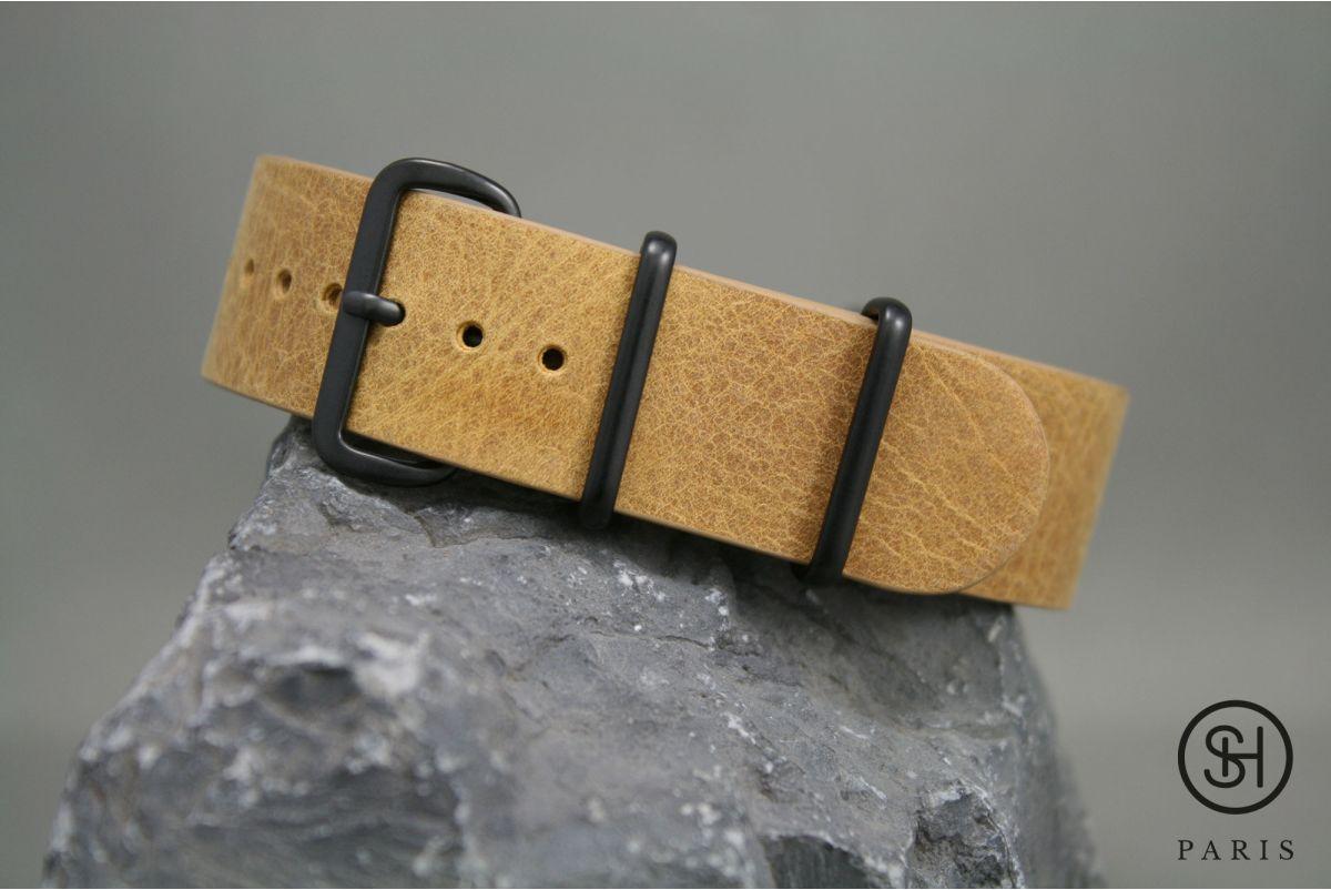 Bracelet montre NATO cuir SELECT-HEURE Miel, boucle acier inox PVD noir