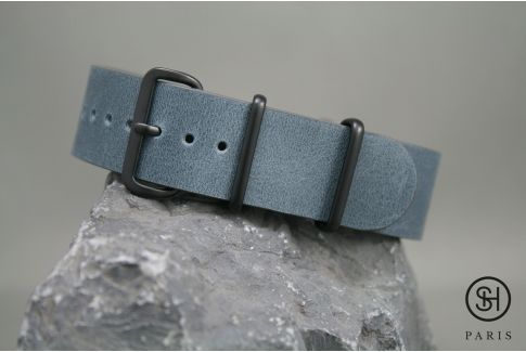 Blue Grey SELECT-HEURE leather NATO watch strap, black PVD stainless steel buckle