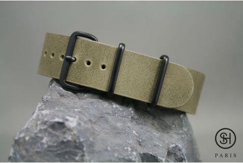 Bracelet montre NATO cuir SELECT-HEURE Olive, boucle acier inox PVD noir