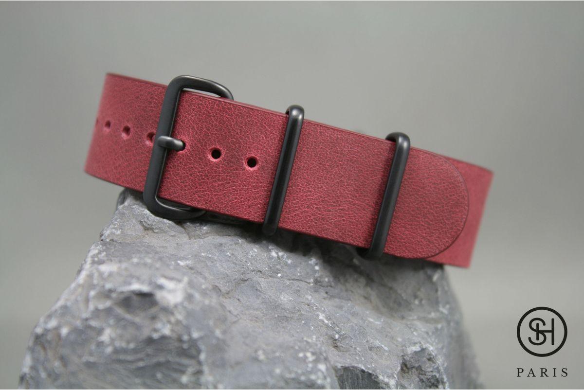 Bracelet montre NATO cuir SELECT-HEURE Bourgogne, boucle acier inox PVD noir