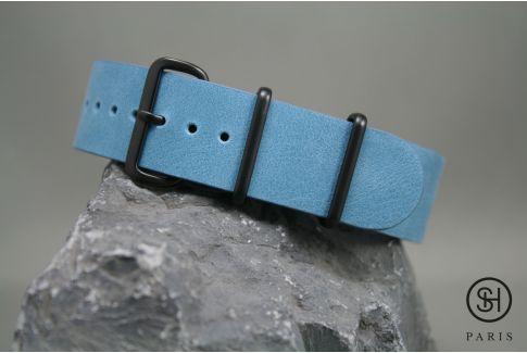Bracelet montre NATO cuir SELECT-HEURE Bleu Pastel, boucle acier inox PVD noir