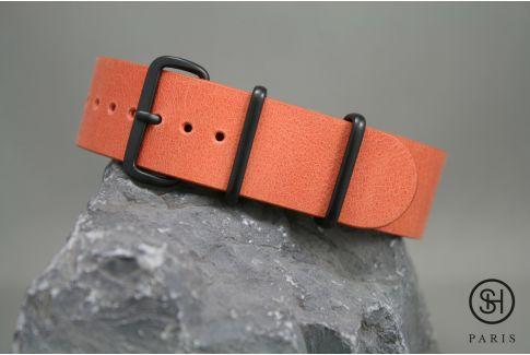Bracelet montre NATO cuir SELECT-HEURE Orange Tangerine, boucle acier inox PVD noir