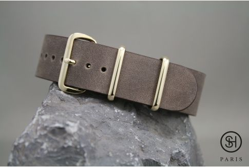 Dark Brown SELECT-HEURE leather NATO watch strap, gold stainless steel buckle