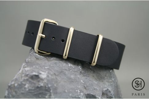Mat Black SELECT-HEURE leather NATO watch strap, gold stainless steel buckle