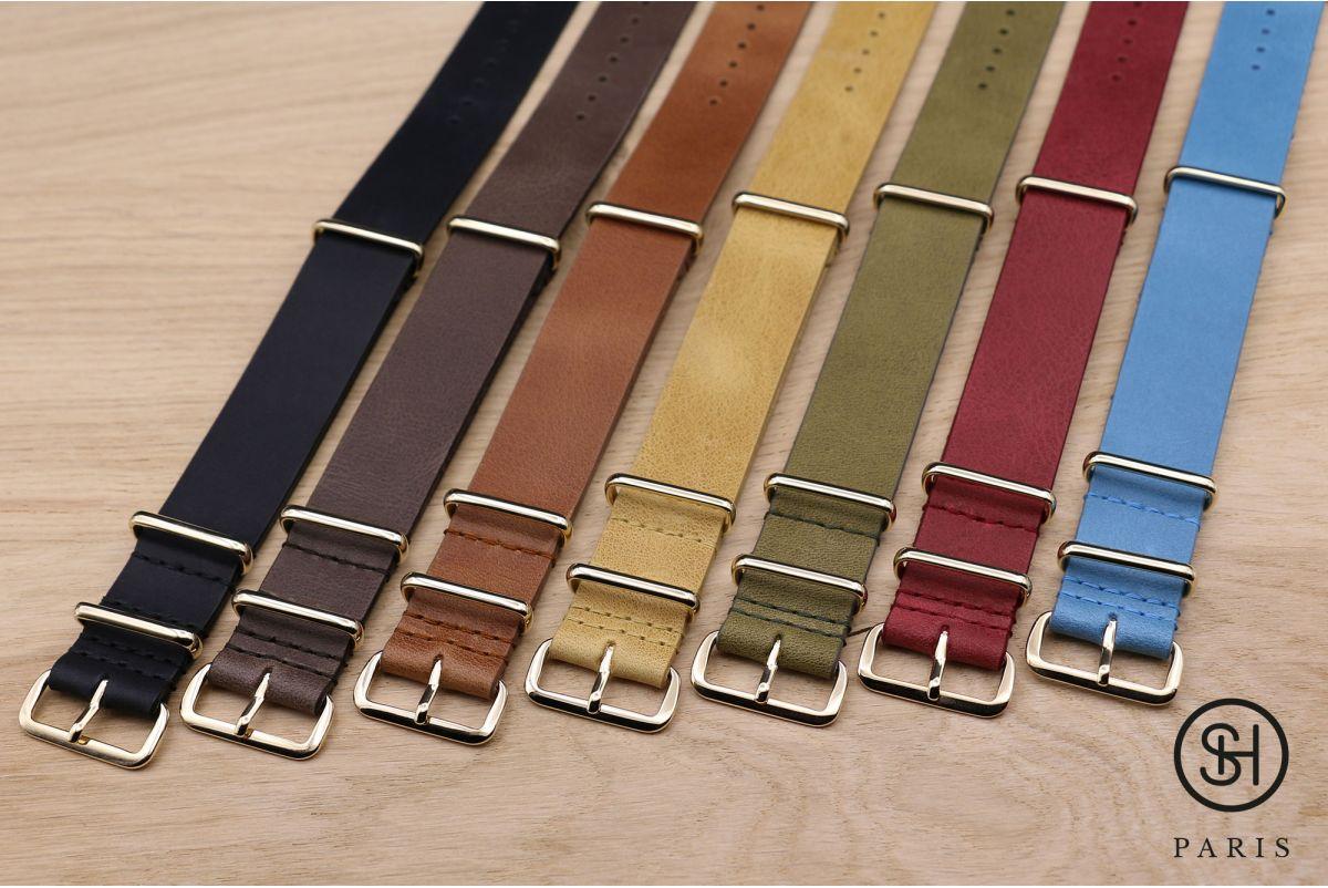 Bracelet montre NATO cuir SELECT-HEURE Noir mat, boucle or (dorées)