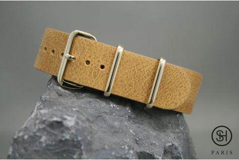 Honey SELECT-HEURE leather NATO watch strap, gold stainless steel buckle