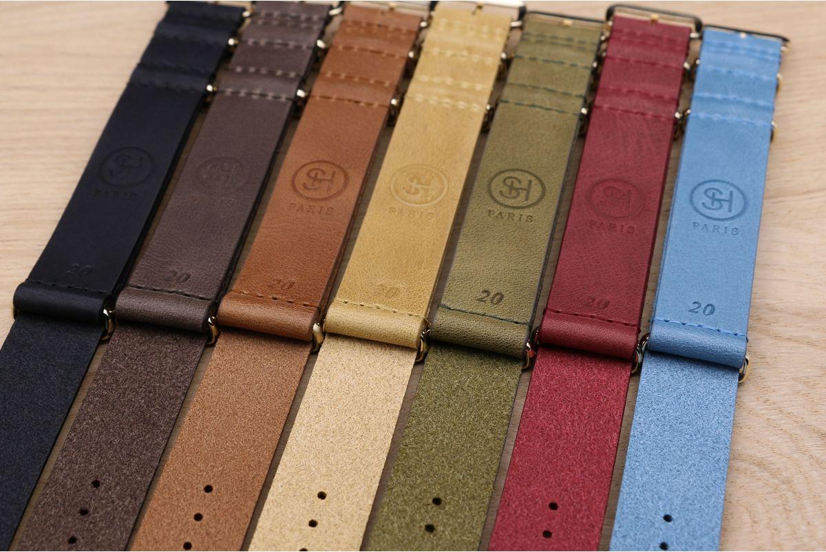 Bracelet montre NATO cuir SELECT-HEURE Miel, boucle or (dorées)