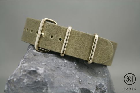 Olive Green SELECT-HEURE leather NATO watch strap, gold stainless steel buckle