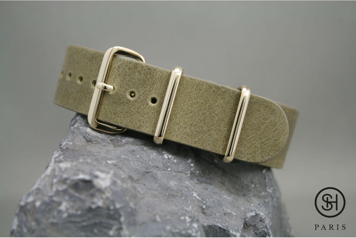 Bracelet montre NATO cuir SELECT-HEURE Olive, boucle or (dorées)