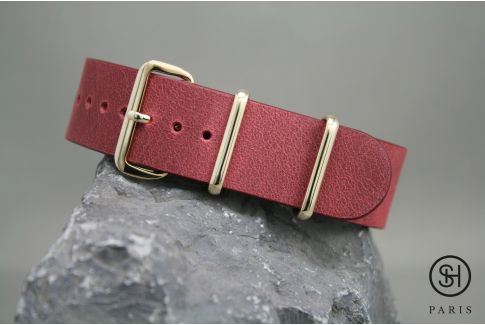 Burgundy SELECT-HEURE leather NATO watch strap, gold stainless steel buckle