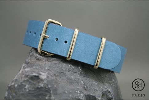 Pastel Blue SELECT-HEURE leather NATO watch strap, gold stainless steel buckle