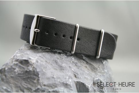 Black Aviator leather G10 NATO watch strap with leather lining