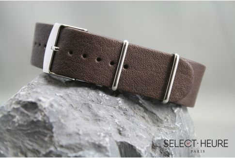Dark Brown Aviator leather G10 NATO watch strap with leather lining