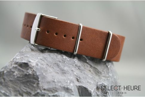 Gold Brown Aviator leather G10 NATO watch strap with leather lining