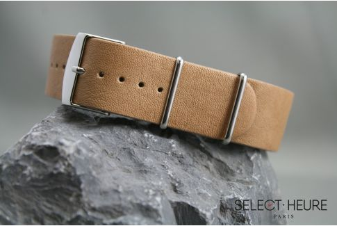 Honey Aviator leather G10 NATO watch strap with leather lining