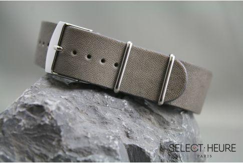 Bracelet montre NATO cuir Aviateur Gris