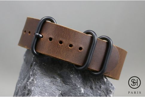 Brown SELECT-HEURE NATO ZULU leather watch strap, PVD buckles (black)