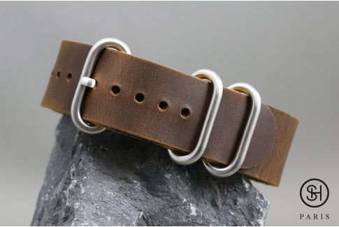 Brown SELECT-HEURE NATO ZULU leather watch strap, brushed stainless steel buckles