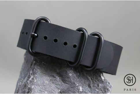 Bracelet montre cuir NATO ZULU SELECT-HEURE Full Black (noir boucles noires)