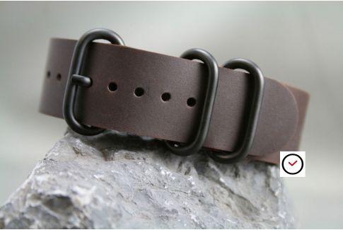Bracelet cuir NATO ZULU Marron foncé, boucles PVD (noires)