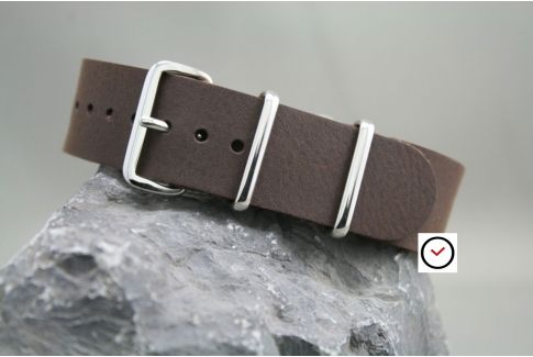 Raw Brown leather G10 NATO strap