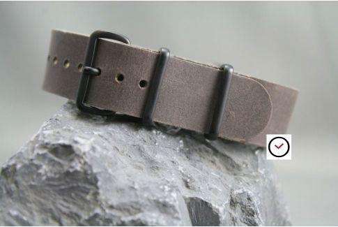 Bracelet cuir NATO Taupe, boucle PVD (noire)