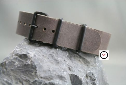 Taupe Grey leather G10 NATO strap, PVD buckle and loops (black)