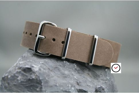 Cinnamon Brown leather G10 NATO strap