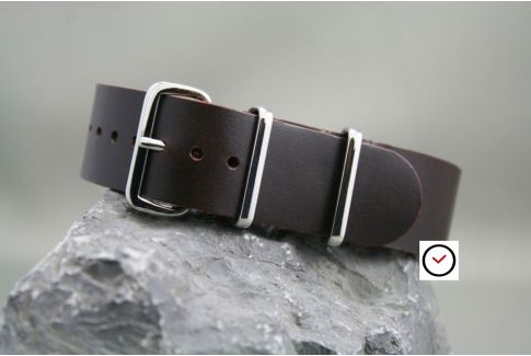 Dark Brown classic leather G10 NATO strap