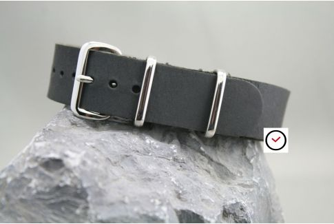 Vintage Black leather G10 NATO strap