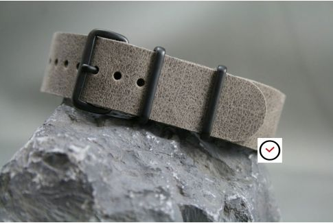 Raw Grey leather G10 NATO strap, PVD buckles and loops (black)