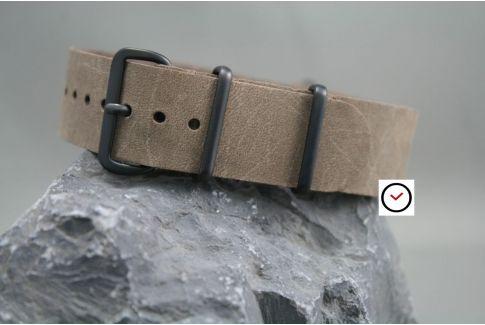 Bracelet cuir NATO Brut Vintage Cacao vieilli, boucle PVD (noire)