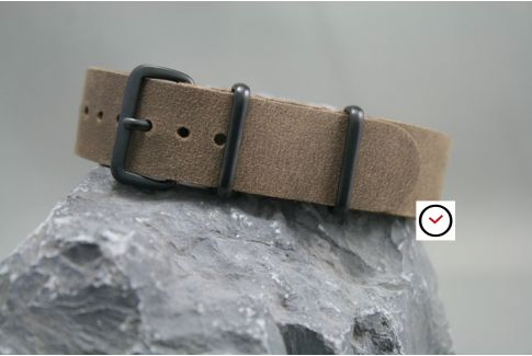 Cocoa Vintage Raw leather G10 NATO strap, PVD buckle and loops (black)