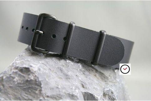 Bracelet cuir NATO Noir, boucle PVD (Full Black)