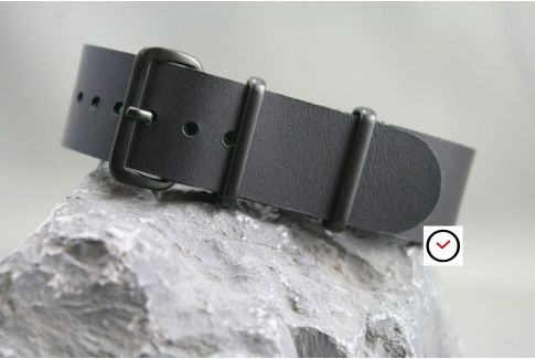 Full Black leather G10 NATO strap (black PVD buckle and loops)