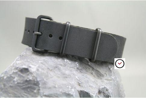Bracelet cuir NATO Noir Vintage, boucle PVD (Full Black vintage)