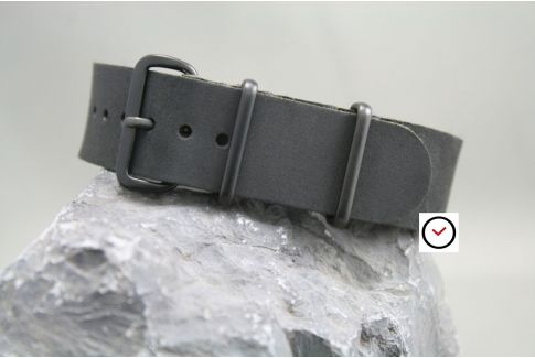 Vintage Full Black leather G10 NATO strap (black PVD buckle and loops)