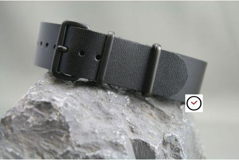 Bracelet cuir NATO Noir Brillant, boucle PVD (noire)