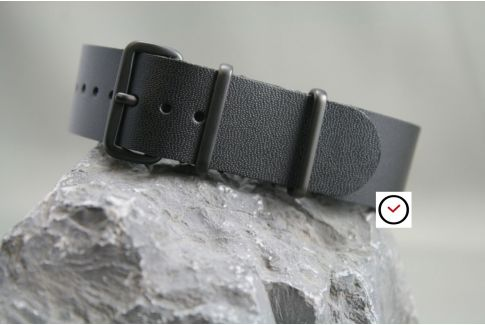 Classic Full Black leather G10 NATO strap, PVD buckle and loops (black)