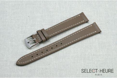 Bracelet montre cuir SELECT-HEURE Taupe pour femmes, pompes rapides (interchangeable)