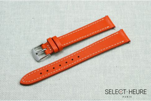 Orange SELECT-HEURE women leather watch strap, quick release spring bars